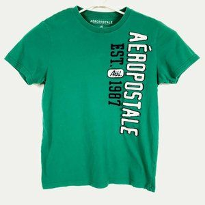 Aeropostale Large Green Spellout T Shirt
